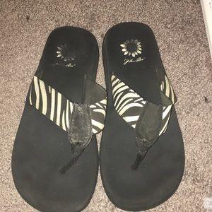 Yellow Box flip flops